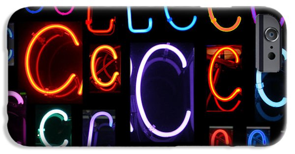 Electrical iPhone Cases - Neon sign series featuring the letter C iPhone Case by Michael Ledray