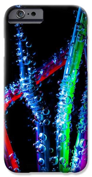 Neon Sparkling Straws iPhone Case by Marc Garrido
