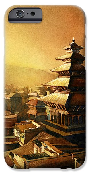 Temple Paintings iPhone Cases - Nepal Temple iPhone Case by Ryan Fox