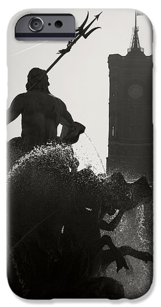 Neptune Fountain and Rotes Rathaus tower iPhone Case by RicardMN Photography