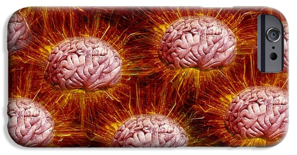 Electrical Component iPhone Cases - Networking Brains, Conceptual Artwork iPhone Case by Victor De Schwanberg