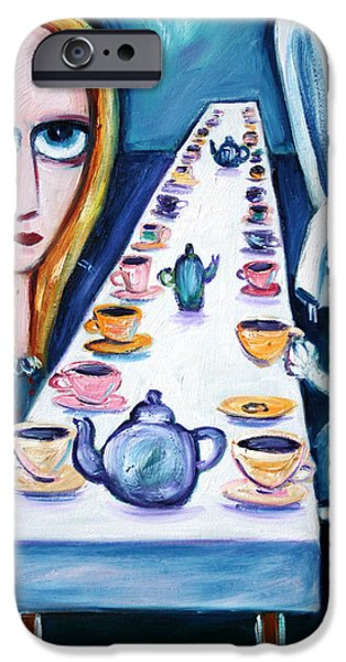 Alice In Wonderland iPhone Cases - Never Ending Tea Party iPhone Case by Leanne Wilkes