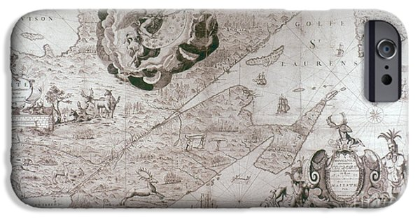 Canadian Map iPhone Cases - New France: Map, 1678 iPhone Case by Granger