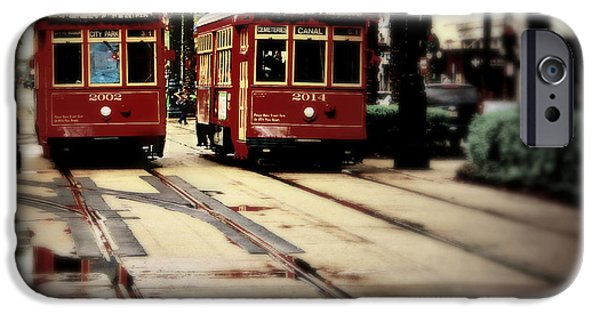 Historical Pictures iPhone Cases - New Orleans Red Streetcars iPhone Case by Perry Webster