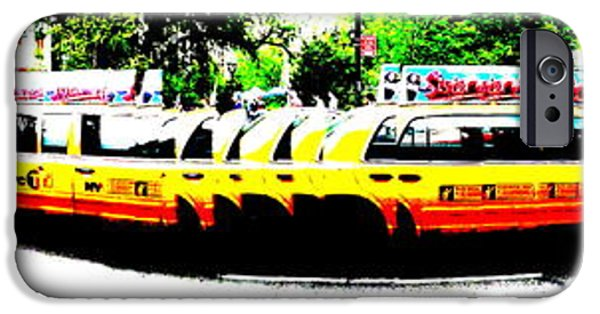 Abstract Digital Photographs iPhone Cases - New York Cabs iPhone Case by Funkpix Photo Hunter