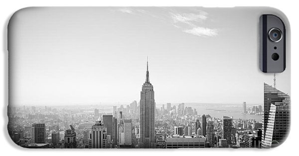 Empire State iPhone Cases - New York City - Empire State Building Panorama Black and White iPhone Case by Thomas Richter