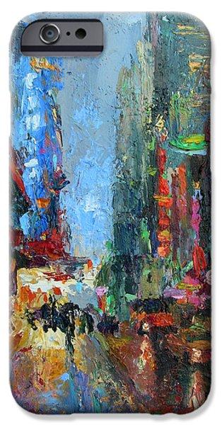 42nd Street iPhone Cases - New York city 42nd street painting iPhone Case by Svetlana Novikova