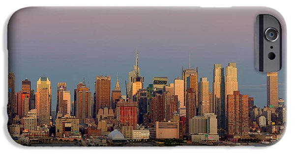 Nast iPhone Cases - New York City Moonrise I iPhone Case by Clarence Holmes