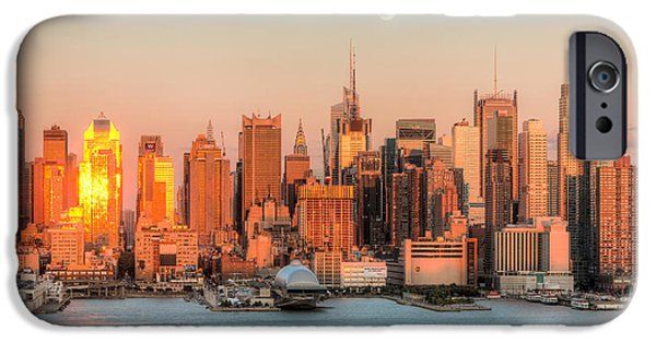 Nast iPhone Cases - New York City Moonrise III iPhone Case by Clarence Holmes