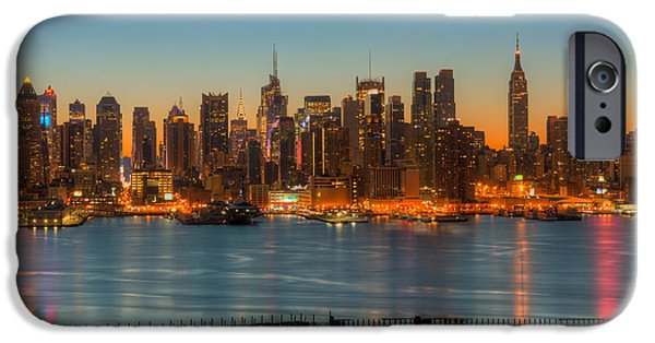 Hudson River iPhone Cases - New York City Skyline Morning Twilight III iPhone Case by Clarence Holmes