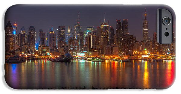 Hudson River iPhone Cases - New York City Skyline Morning Twilight XIII iPhone Case by Clarence Holmes