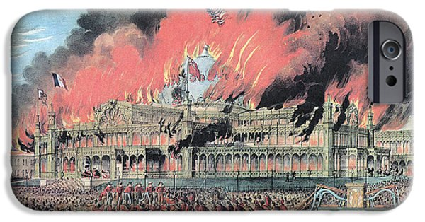 From The Dome iPhone Cases - New York Crystal Palace Fire, 1858 iPhone Case by Photo Researchers
