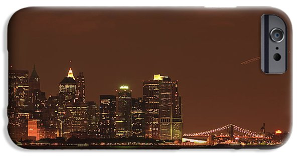 Hudson River iPhone Cases - New York Skyline iPhone Case by Kim Hojnacki