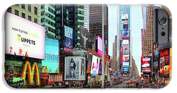 Town iPhone Cases - New York Times Square Panorama iPhone Case by Mariola Bitner