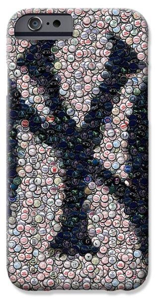 New York Mixed Media iPhone Cases - New York Yankees Bottle Cap Mosaic iPhone Case by Paul Van Scott