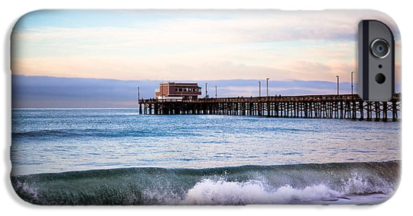 Morning iPhone Cases - Newport Beach CA Pier at Sunrise iPhone Case by Paul Velgos