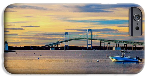 New England Lighthouse iPhone Cases - Newport Harbor 2 iPhone Case by Joann Vitali