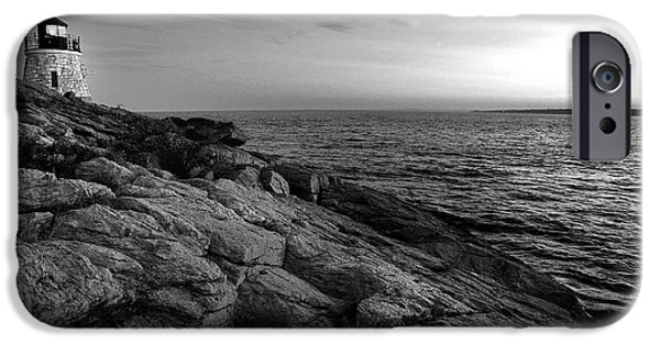 New England Lighthouse iPhone Cases - Newport Rhode Island-Castle Hill Black and White iPhone Case by Thomas Schoeller