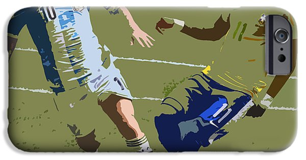 Clash Of Worlds iPhone Cases - Neymar and Lionel Messi Clash of the Titans Art Deco iPhone Case by Lee Dos Santos