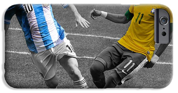 Clash Of Worlds iPhone Cases - Neymar and Lionel Messi Clash of the Titans Black and White iPhone Case by Lee Dos Santos