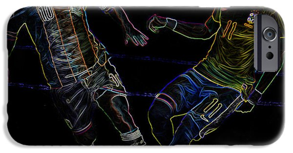 Clash Of Worlds iPhone Cases - Neymar and Lionel Messi Clash of the Titans Neon iPhone Case by Lee Dos Santos