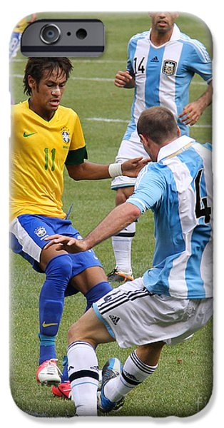 Clash Of Worlds iPhone Cases - Neymar Breaking Ankles II iPhone Case by Lee Dos Santos