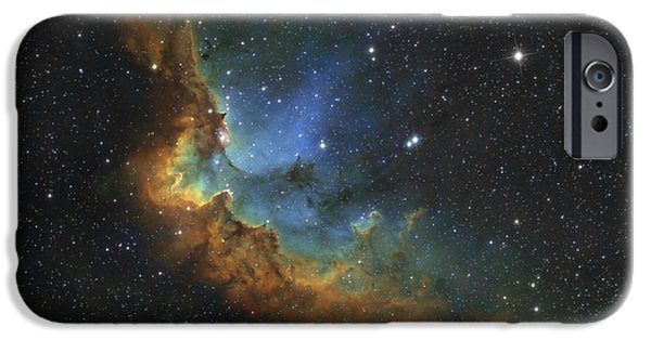 Starfield iPhone Cases - Ngc 7380 In Hubble-palette Colors iPhone Case by Rolf Geissinger