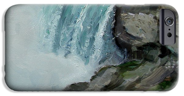 Lanscape iPhone Cases - Niagara Falls Rocks iPhone Case by Ylli Haruni