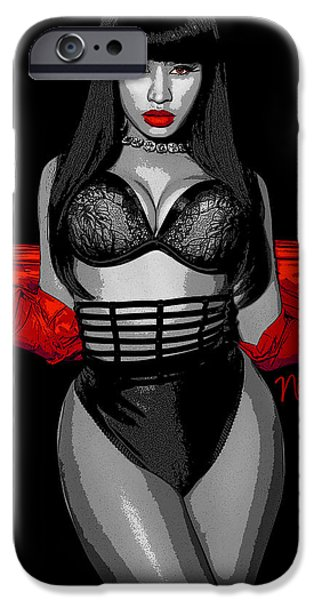Nicki Minaj iPhone Cases - Nicki Minah Vampire Red by GBS iPhone Case by Anibal Diaz