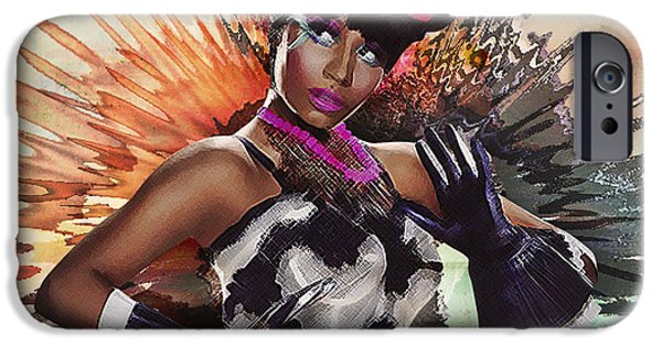 Nicki Minaj iPhone Cases - Nicki Minaj Splatter by GBS iPhone Case by Anibal Diaz