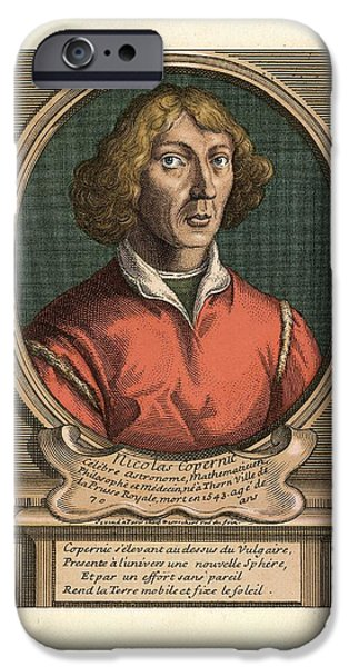 Caption iPhone Cases - Nicolaus Copernicus, Polish Astronomer iPhone Case by Detlev Van Ravenswaay