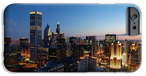 Sears Tower iPhone Cases - Night Falls on Chicago - D001087 iPhone Case by Daniel Dempster