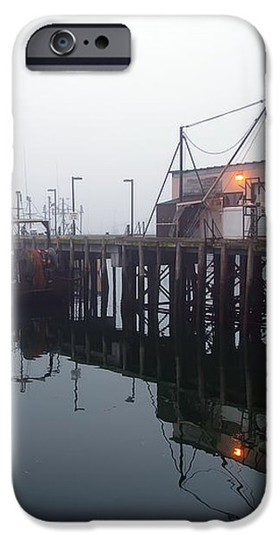 Night Fog Along the Dock iPhone Case by Bob Orsillo