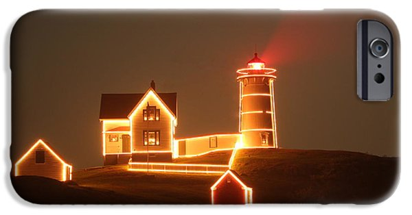 Nubble Lighthouse iPhone Cases - Night Light iPhone Case by Rick  Blood