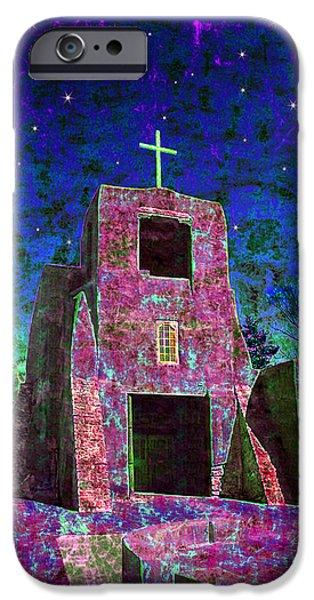 Christmas Eve Digital Art iPhone Cases - Night Magic San Miguel Mission iPhone Case by Kurt Van Wagner