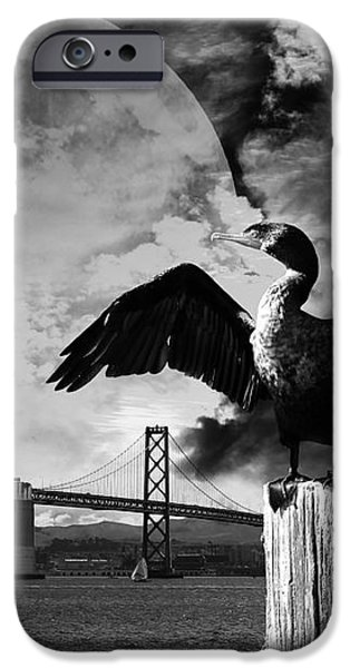 Night of The Cormorant . Black and White iPhone Case by Wingsdomain Art and Photography