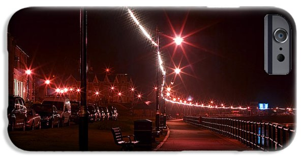 Night Lamp iPhone Cases - Night Road iPhone Case by Svetlana Sewell