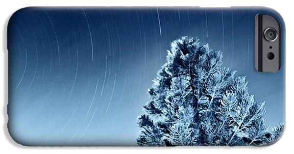Stellar iPhone Cases - Night sky of falling stars iPhone Case by Anna Omelchenko