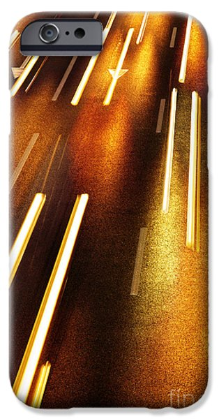 Asphalt iPhone Cases - Night Traffic iPhone Case by Carlos Caetano