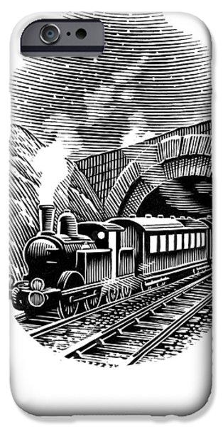 Linocut iPhone Cases - Night Train, Artwork iPhone Case by Bill Sanderson