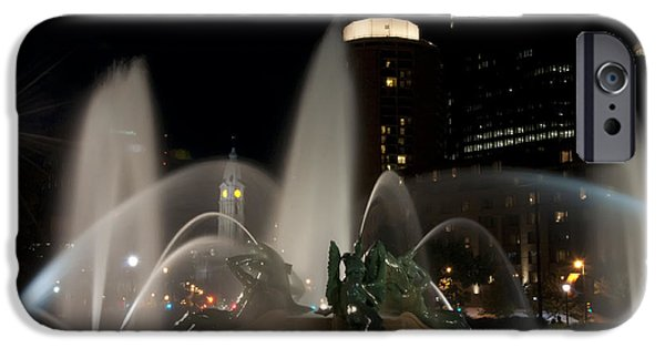 Night Angel iPhone Cases - Night View of Swann Fountain iPhone Case by Bill Cannon