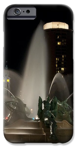 Night View of Swann Fountain iPhone Case by Bill Cannon