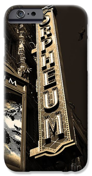 Nightfall at The Orpheum - San Francisco California - 5D17991 - Sepia iPhone Case by Wingsdomain Art and Photography