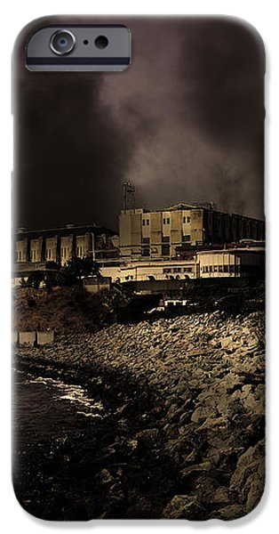 Nightfall Over Hard Time - San Quentin California State Prison - 5D18454 - Partial Sepia iPhone Case by Wingsdomain Art and Photography