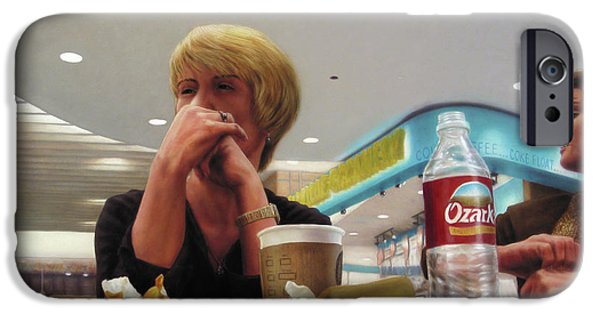 Public iPhone Cases - Nighthawks at the Foodcourt iPhone Case by James W Johnson