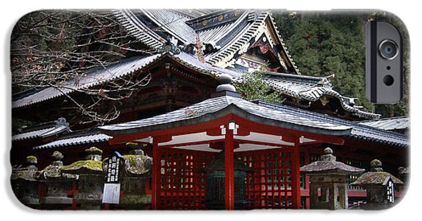 Pathway iPhone Cases - Nikko Monastery Building iPhone Case by Naxart Studio