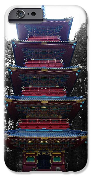 History iPhone Cases - Nikko Pagoda iPhone Case by Naxart Studio