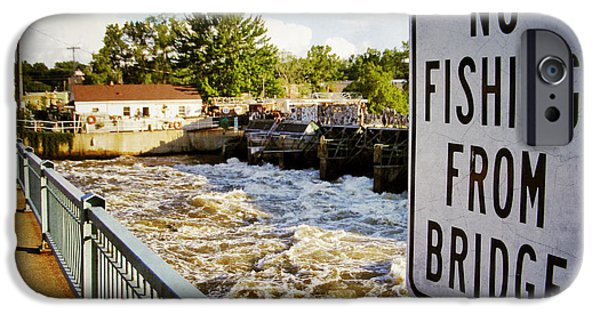 Appleton Photographs iPhone Cases - No Fishing From Bridge iPhone Case by Shutter Happens Photography