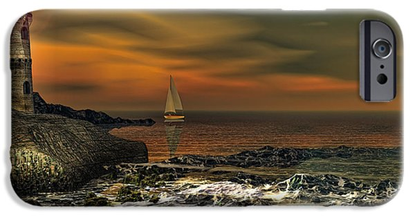 Sail Boat iPhone Cases - Nocturnal Tranquility iPhone Case by Lourry Legarde