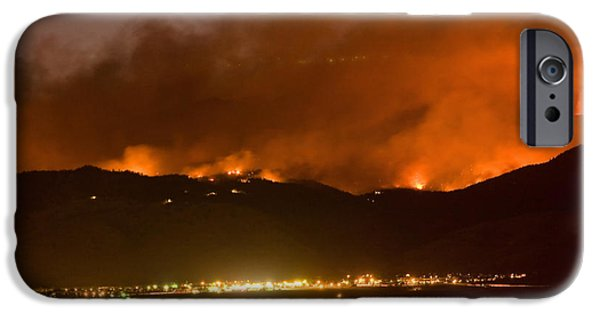 Striking Photography iPhone Cases - North Boulder Colorado Fire Above in the Hills iPhone Case by James BO  Insogna